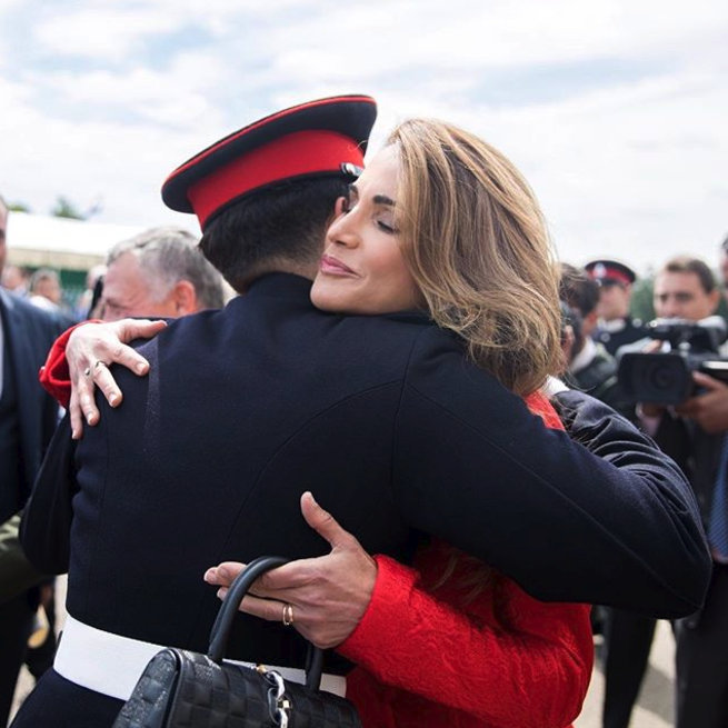 "Queen Rania shared this sweet photo of a hug with Prince Hussein on her Instagram, with the caption: ""You have given us countless reasons to be proud of the man you have become. Congratulations on graduating from the Royal Military Academy Sandhurst, in the footsteps of your father, we are both so very proud of you!""