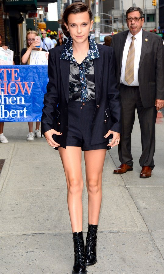<I>Stranger Things</I> star Millie Bobby Brown headed to The Late Show with Stephen Colbert in NYC on August 10. 