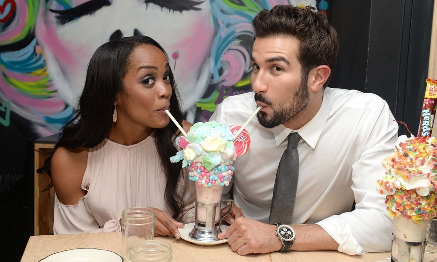 Bride-to-be Rachel Lindsay and fiancé Bryan Abasalo of <I>The Bacherlorette</I> indulged in two decadent signature Crazyshakes – the Cotton Candy Shake and the Bam Bam – at Black Tap in midtown NYC.