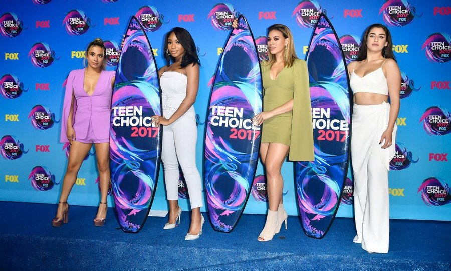 Wearing Lavish Alice, Fifth Harmony – Ally Brooke, Normani Kordei, Dinah Jane and Lauren Jauregui – showed off their new accessories – the surfboard trophies for Choice Music Group, Choice Song for <I>Down</I> and Choice Summer Group.