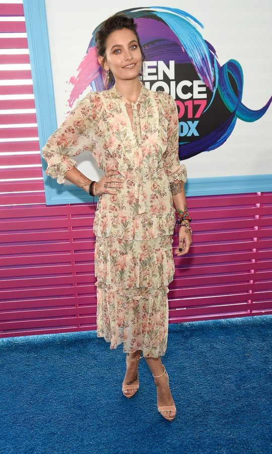 Paris Jackson opted for a ladylike silk dress by Zimmermann for the Teen Choice Awards, held at Galen Center in Los Angeles.
