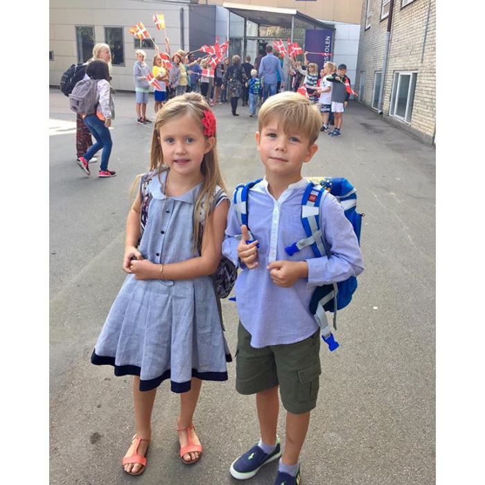 The royal twins coordinated in sky blue ensembles for their big day of Grade 0 on August 15, 2017. Josephine looked adorable sporting a Pili Carrera dress, coral sandals and a flower headband, while her brother donned green cargo shorts, a blue mandarin shirt and Ralph Lauren trainers.