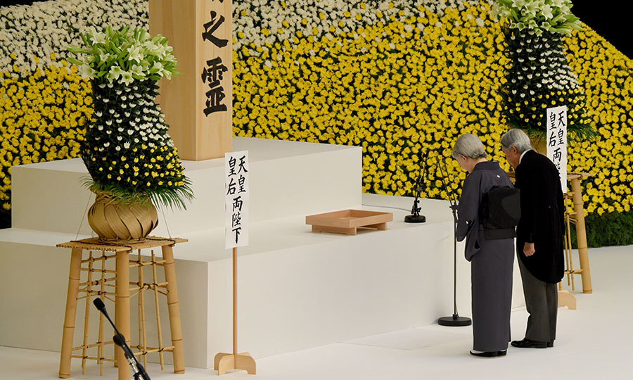 Marking the 72nd anniversary of Japan's defeat in WWII, the country's Emperor Akihito and Empress Michiko honored war victims during the official annual memorial service in Tokyo on August 15. 