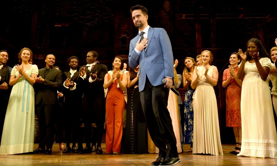 Lin-Manuel Miranda also known as Alexander Hamilton received a round of applause by audience members and the cast of <i>Hamilton</i>, during the show's first night at the Pantages Theatre on August 16 in L.A. 