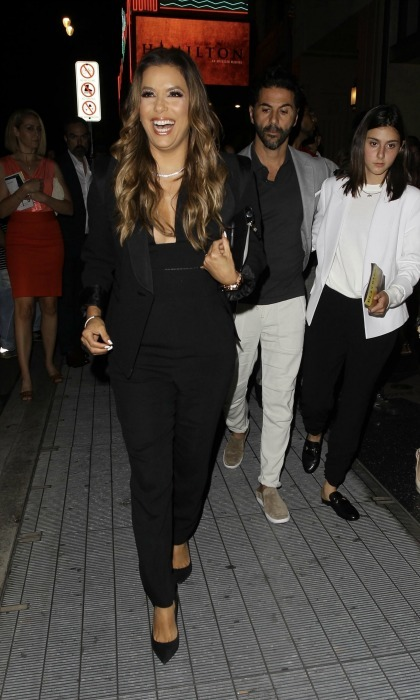 Ham for Ham! Eva Longoria and Jose Baston were all smiles as they left the opening night of <i>Hamilton</i> on August 16 at the Pantages Theatre in L.A.