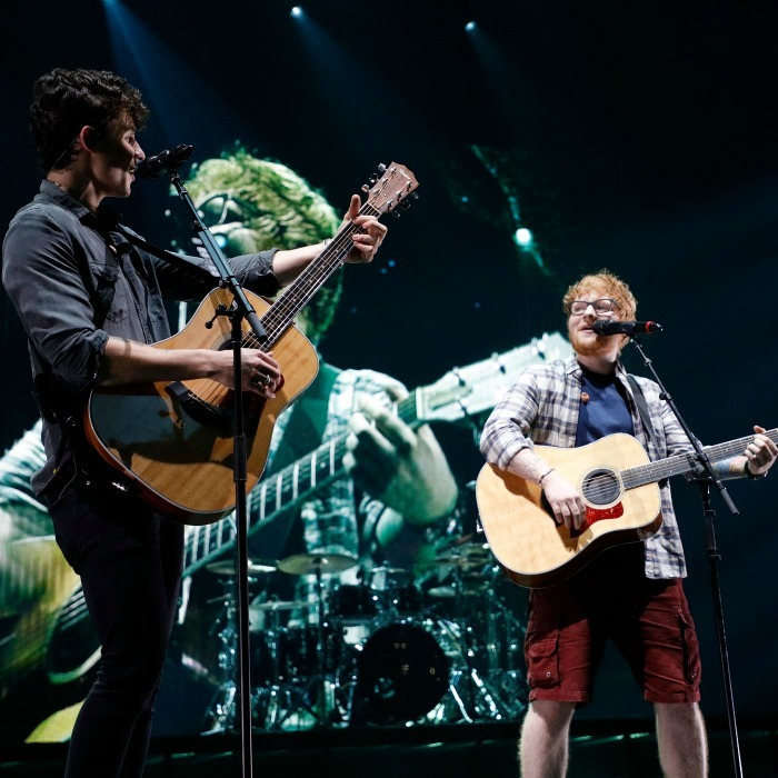 Swoon! Shawn Mendes was joined by Ed Sheeran for a performance of his smash hit <i>Mercy</i> during the Brooklyn, NY stop of his <i>Illuminate</i> tour.