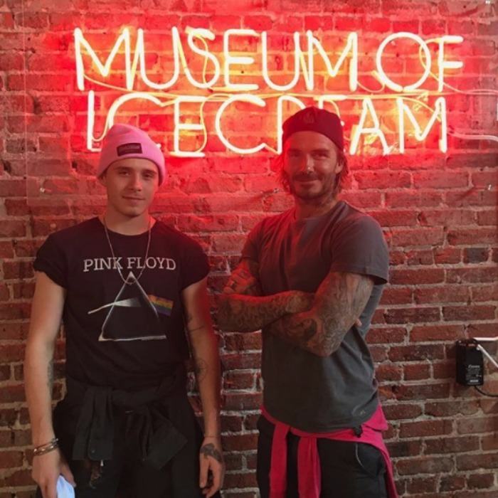 We all scream for ice cream! David and Brooklyn Beckham enjoyed some father-son bonding time at the Museum of Ice Cream on August 16 in L.A.  