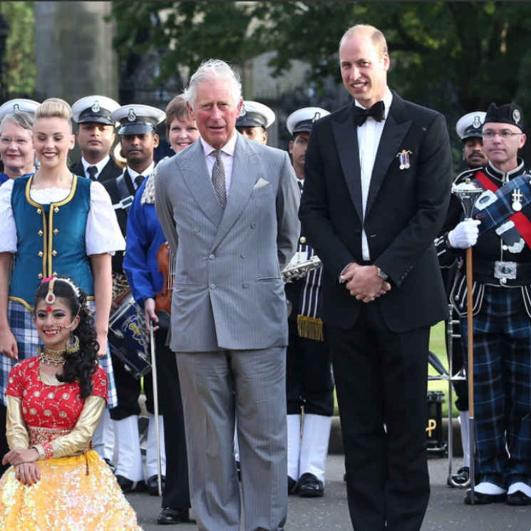 Prince Charles and Prince William watched a special performance at the Palace of Holyrood in Scotland ahead of the 2017 Edinburgh Tattoo on August 16.