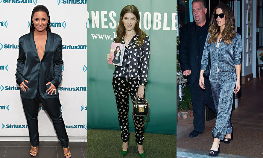 Three's a trend! Anna Kendrick, center, joined the PJ brigade in a bed-ready ensemble by Fleur du Mal as she signed copies of her book <I>Scrappy Little Nobody</I> at Barnes & Noble Union Square on August 19, 2017 in New York City. The pajama look has also been spotted on Demi Lovato – left, in Baja East – and Kate Beckinsale, right, this month. 