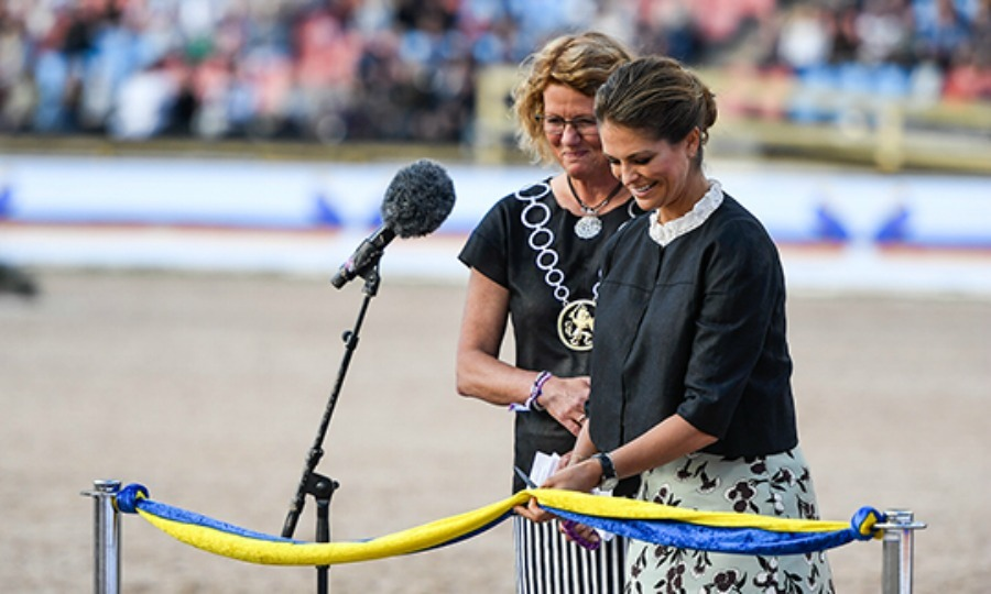 Let the games begin! Princess Madeleine cut the ribbon during the start of the 2017 Longines FEI European Championship on August 21 in Gothenburg, Sweden.