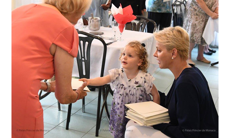 Princess Charlene had two adorable helpers as she carried out an engagement at the Hector Otto Foundation on Saturday, August 19. The Monaco royal was joined by her two-year-old twins, Prince Jacques and Princess Gabriella, for the outing to the Bellando de Castro elderly home, which is a branch of the Monegasque Red Cross.