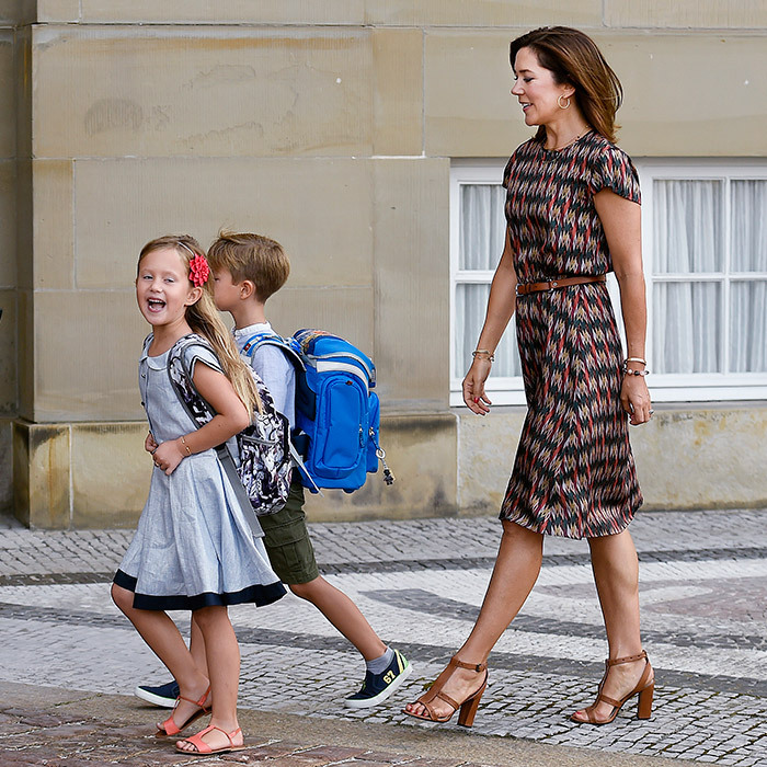 Crown Princess Mary did the school run in style as twins Josephine and Vincent headed back to school on August 15.