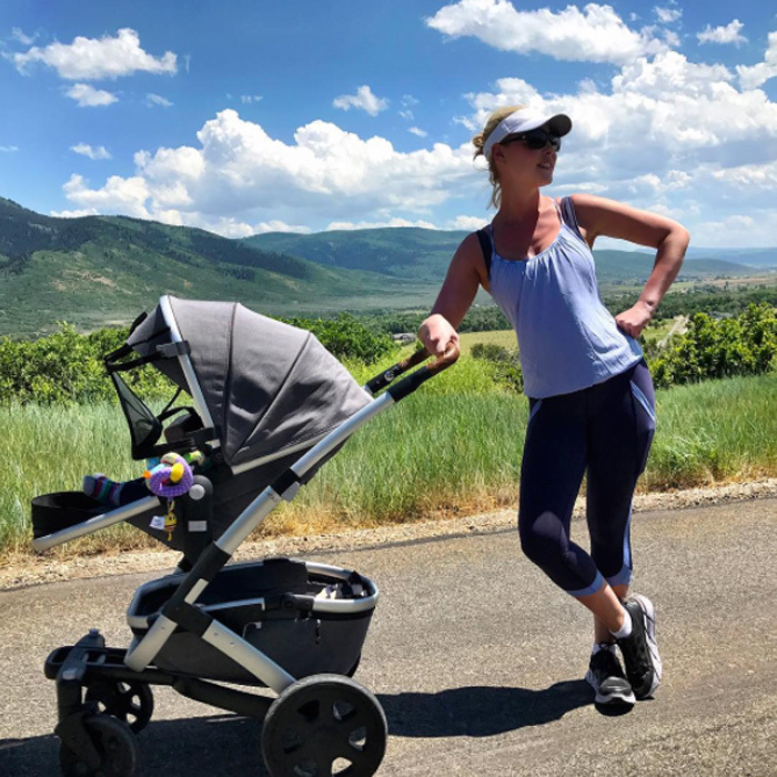 Katherine Heigl enjoyed a nature hike with Joshua Jr., who lounged in a Joolz Geo2 Stroller in Utah on August 7.