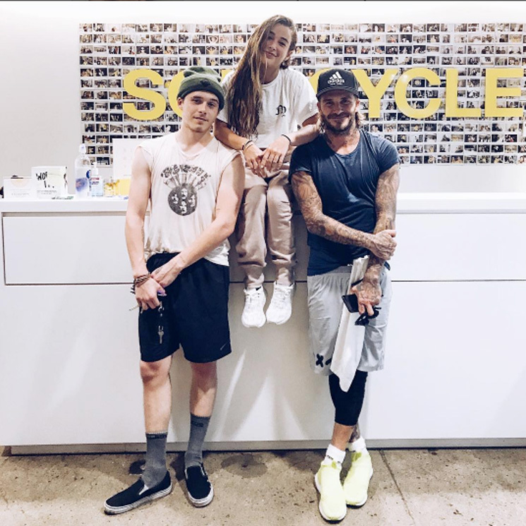 David Beckham took a break from moving his son Brooklyn to New York for his first year of college at Parsons School of Design to attend a Soul Cycle class with his firstborn on August 22.