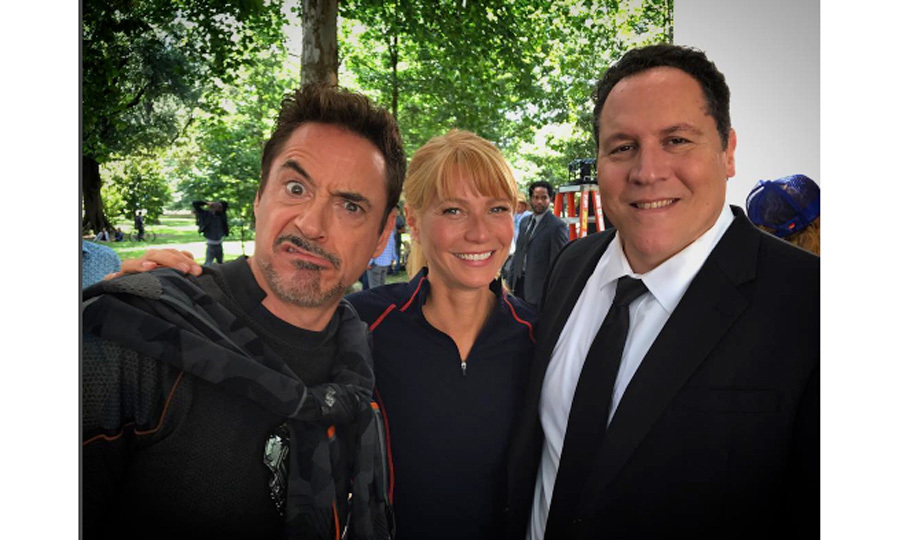 "Infinity trinity! Robert Downey Jr. posed with co-stars Gwyneth Paltrow and Jon Favreau on the set of <i>Avengers Infinity War</i> on August 22. Robert – who plays Iron Man in the Marvel franchise – captioned the photo: ""Infinity Trinity ... #infinitywar and street cred @jimmy_rich represent @marvelstudiosand @therealstanlee ...""