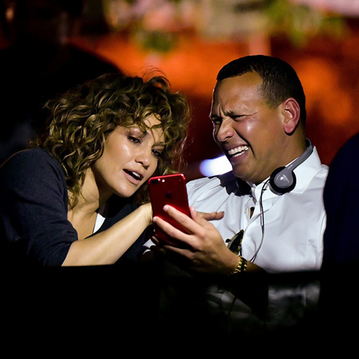 Jennifer Lopez had a special visitor on set of <i>Shades of Blue</i> in boyfriend Alex Rodriguez. The two shared a laugh between takes on August 23.