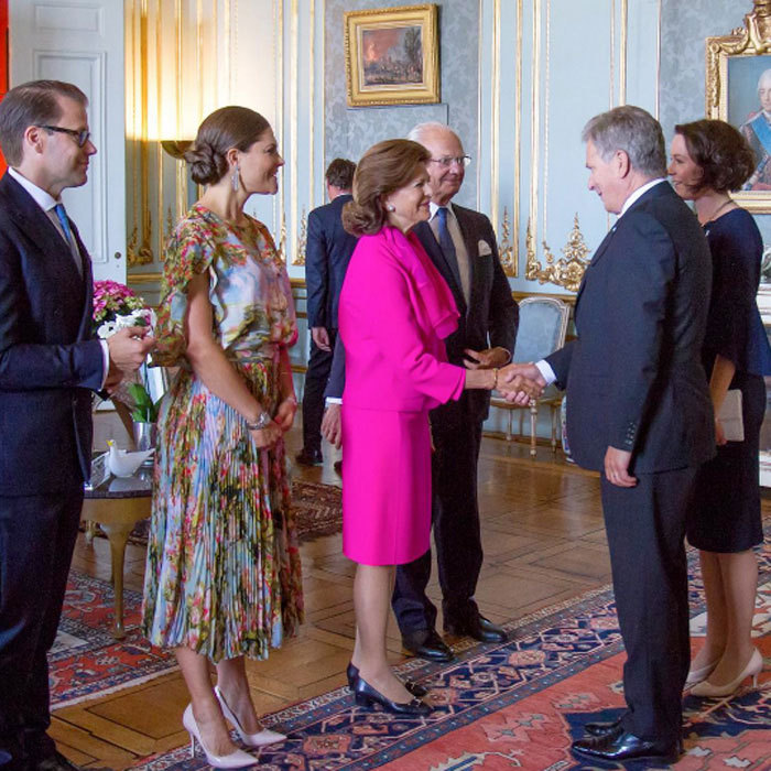 Crown Princess Victoria and Prince Daniel welcomed Finland's presidential couples for a lunch at the Royal Palace before participating in several events in Stockholm to celebrate the Finnish Jubilee.