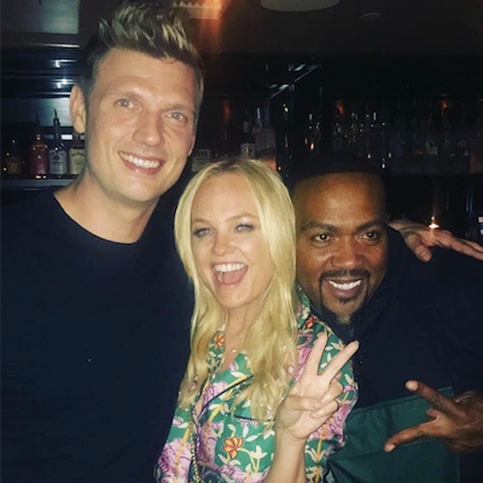 Oh baby! Emma Bunton, Nick Carter and Timbaland kept the party going at Doheny Room in L.A. after the <i>Boy Band</i> wrap.