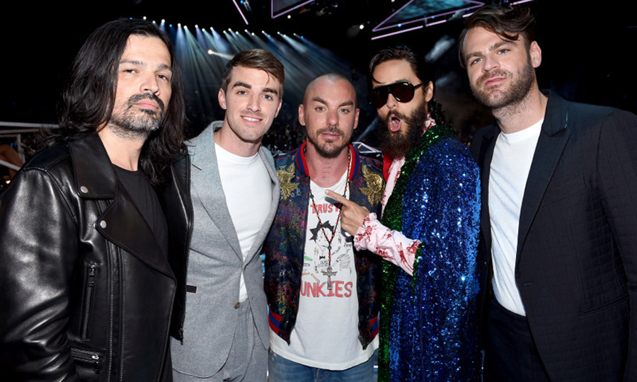 Thirty Seconds to Mars (Tomo Milicevic, Shannon Leto, and Jared Leto) with The Chainsmokers (Andrew Taggart and Alex Pall)