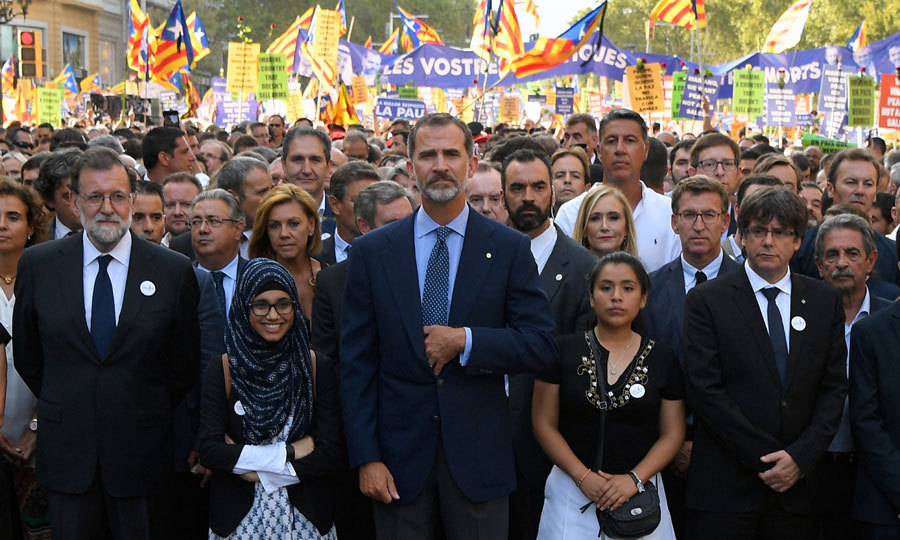 King Felipe VI of Spain attended a march against terrorism in Barcelona on August 26. The march, whose slogan was #NoTincPor (I'm Not Afraid), follows the horrific terror attack that killed 15 and injured over 100 individuals earlier this month.