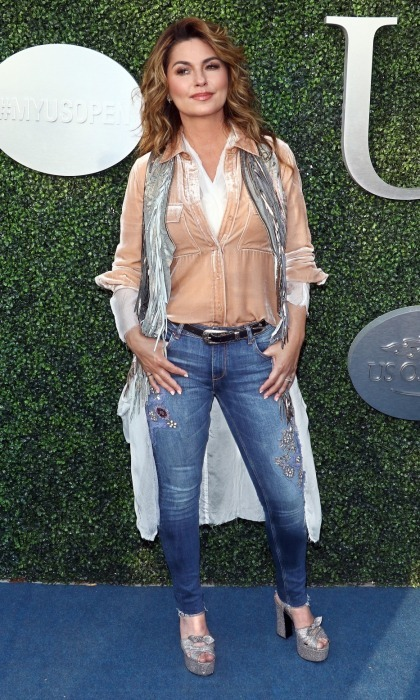 Birthday girl! Shania Twain posed for some photos as she geared up for her special performance at the gala. The Grammy award-winning singer took to the stage during the annual tennis tournament as she rang in 52.