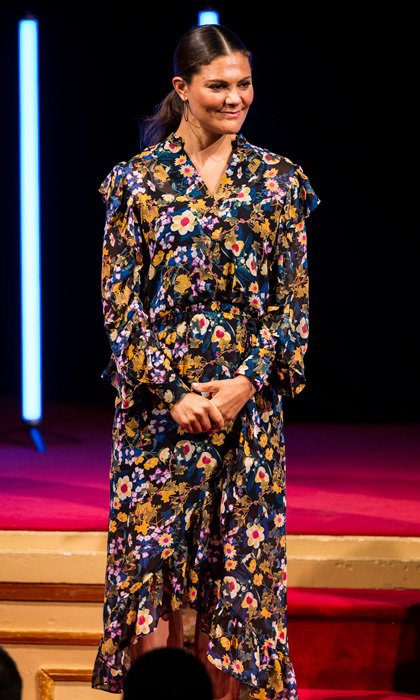 Crown Princess Victoria of Sweden made a floral statement wearing a dress by Gestuz for the Stockholm Junior Water Prize on August 29.