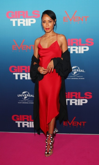 Red hot! Jada Pinkett Smith set the carpet on fire in a slinky red dress. The star stepped out on August 30 for a VIP screening of her film <i>GIRLS TRIP</i> at Event Cinemas George Street in Sydney, Australia. 
