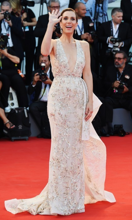 Kristen Wiig looked ethereal at the <i>Downsizing</i> screening and Opening Ceremony of the 74th Venice Film Festival at Sala Grande on August 30 in Venice. The actress wore a sparkling Zuhair Murad couture gown and Giuseppe Zanotti heels.