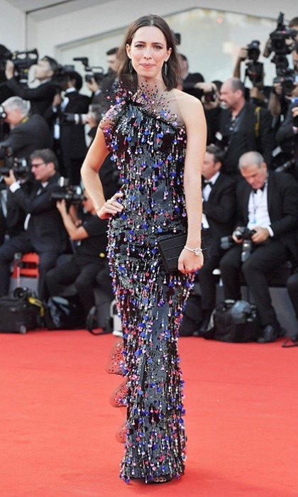 Venice Film Festival jury member Rebecca Hall shimmered in a confetti like number.