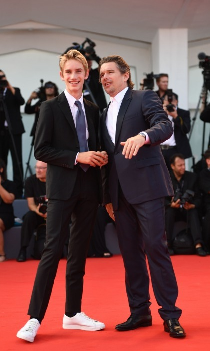 Red carpet advice! Ethan Hawke was thrilled to have his equally dapper looking son Levon Roan Thurman-Hawke in Venice to walk the red carpet with during his <i>First Reformed</i> premiere. 