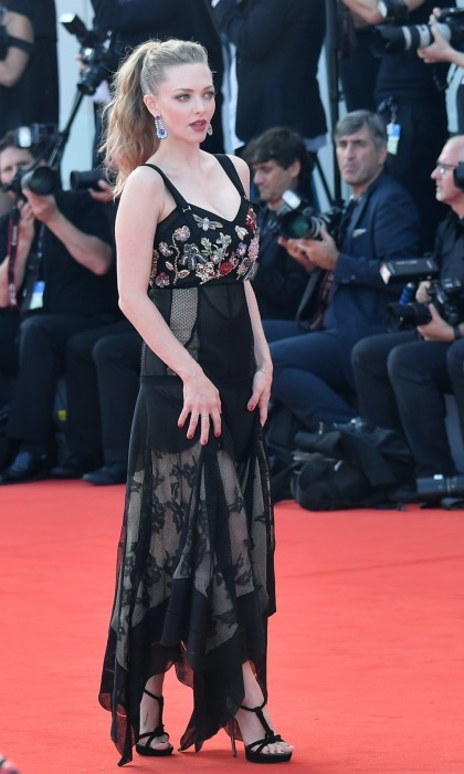 Ethan's co-star Amanda Seyfried worked the carpet in a chic Alexander McQueen embroidered gown from the designer's 2018 collection. 