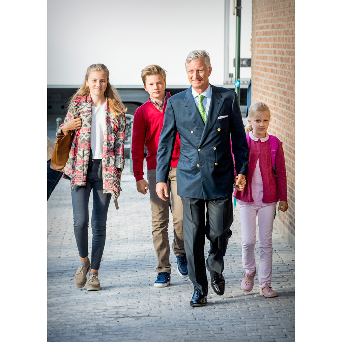 The 57-year-old King walked his children to school, holding hands with his youngest child, nine-year-old Princess Eleonore. Elisabeth, Gabriel and Eleonore all attend Sint-Jan Berchmans College in Brussels while their brother Prince Emmanuel, 11, is enrolled at the Eureka institution in Kessel-Lo, Leuven – a school that specializes in teaching children with learning disabilities.