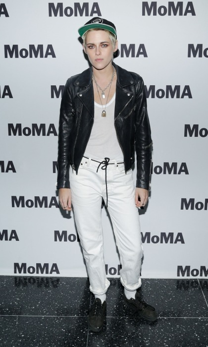 Kristen Stewart matched the black-and-white setting as she attended the MOMA's screening of Refinery29's <i>Come Swim</i>, which she directed, on August 30 in NYC. 