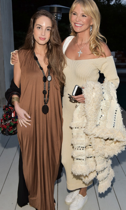 Christie Brinkley and daughter Alexa Ray Joel had a movie night under the stars while watching <i>Tulip Fever</i> at Donna Karan's house in the Hamptons.