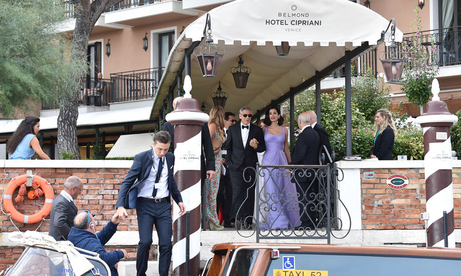 George Clooney and Amal made their way from their hotel to the red carpet for <i>Suburbicon</i> at the festival.