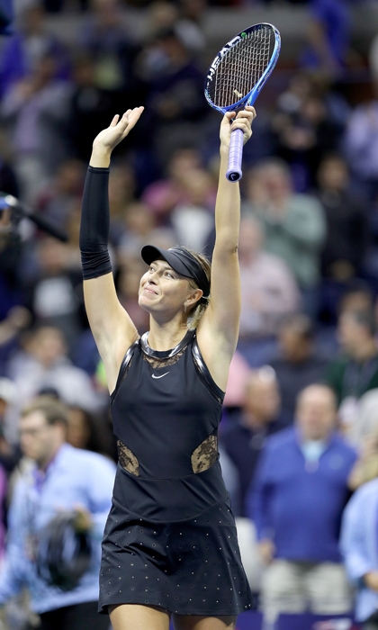 Maria Sharapova was all smiles after winning her third round match against Sofia Kenin.