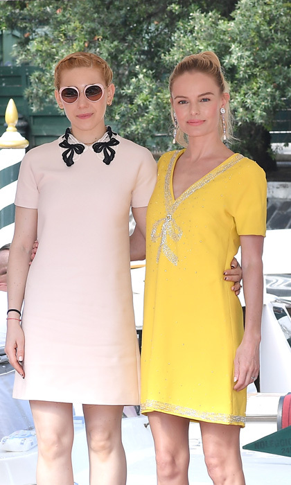 Kate Bosworth and Zosia Mamet were rays of sunshine in Miu Miu at the Excelsior Hotel.