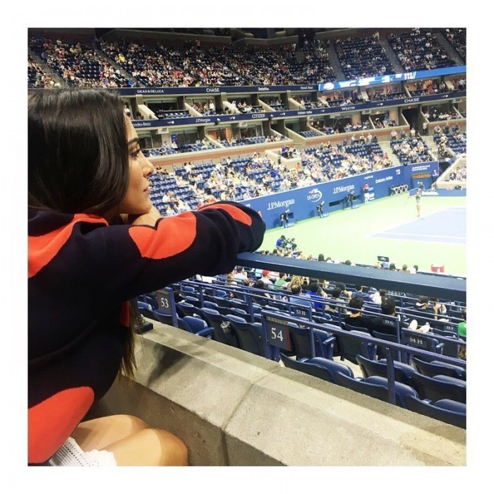 "<i>Bachelorette</i> alum and <i>Single State of Mind</i> author Andi Dorfman had the perfect view to watch Madison Keys win big for America. Andi shared a photo of her spot in the Emirates Suite on Instagram, writing: ""Perfect way to end the summer at the US Open ..."" 
