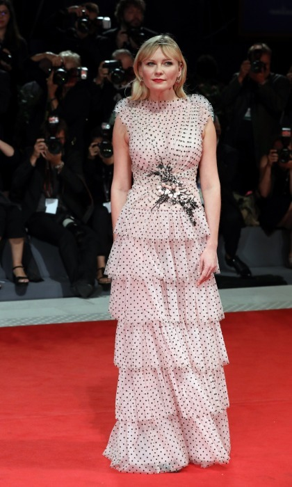 Kirsten Dunst wowed stunned in a tiered polka-dot gown by Rodarte while on the red carpet for her <i>Woodshock</i> screening on September 4. 