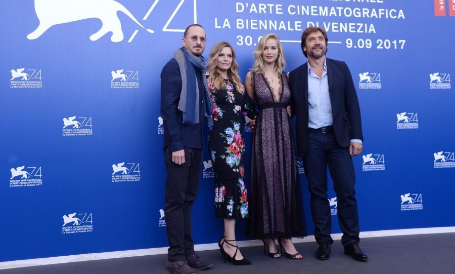 Team <i>Mother!</i> posed for pictures at their photocall on September 5. Michelle Pfeiffer and Javier Bardem were joined by director Darren Aronofsky and Jennifer Lawrence, who made this their first public appearance as a couple.  