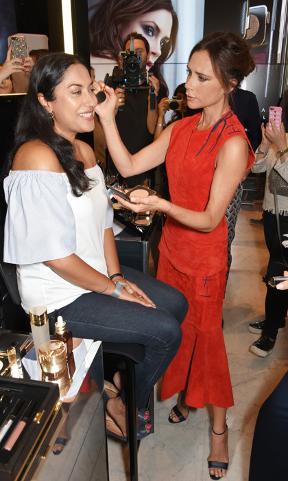 The designer surprised fans at Victoria Beckham Estee Lauder Autumn Winter 17 launch at Selfridges in London on September 5.