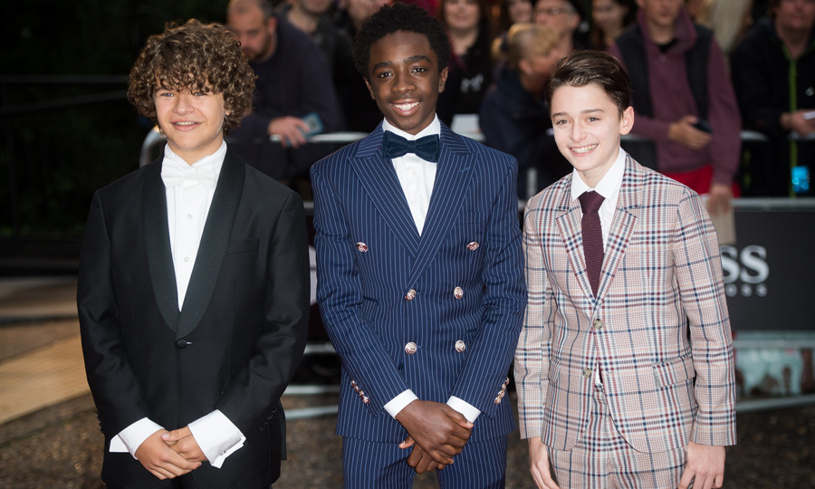 Gaten Matarazzo, Noah Schnapp and Caleb McLaughlin put on their finest evening attire for the GQ Men Of The Year Awards at Tate Modern in London on September 5.