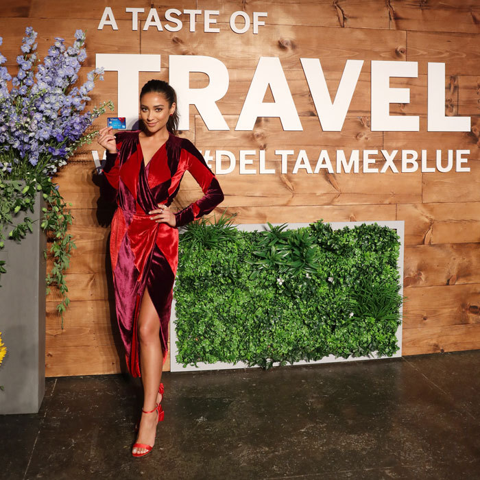 Shay Mitchell combined two of her favorite things, travel and food, at the Taste of Travel party launching the Blue Delta SkyMiles® Credit Card from American Express in NYC on September 6.