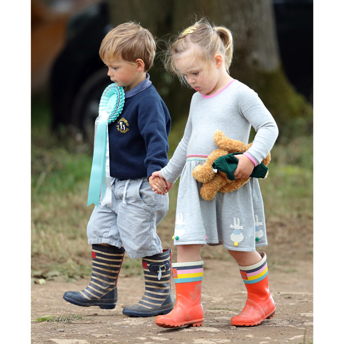 Young love! Mia and Charlie Meade, son of rider Harry Meade took a stroll around the Whatley Manor Horse Trials at Gatcombe Park on September 8, 2017.