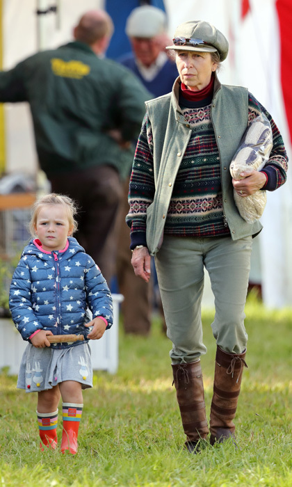 Princess Anne kept an eye on her energetic granddaughter Mia Tindall during the Whatley Manor Horse Trials at Gatcombe Park on September 8.