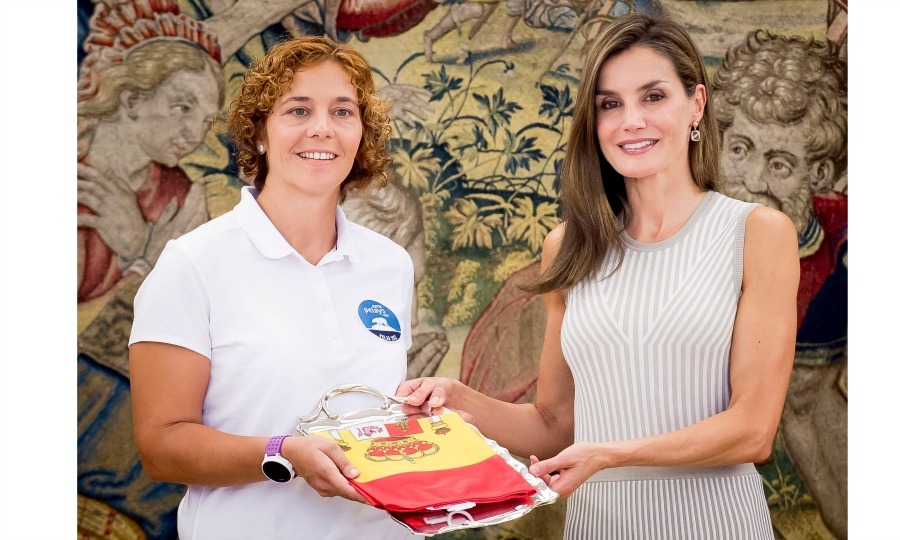 Fresh from her vacation in Palma, Mallorca, Queen Letizia was back to work (in style) as she met with guests at Zarzuela Palace in Madrid on September 5.