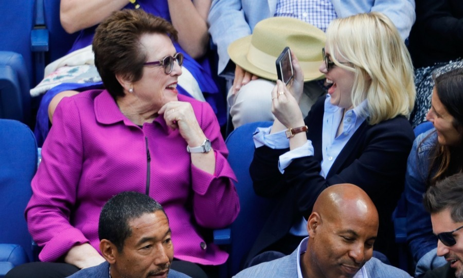 Say cheese! The duo seemed to have a wonderful time together in the stands as they watched the Women's Final with Hilary Swank and Philip Schneider.