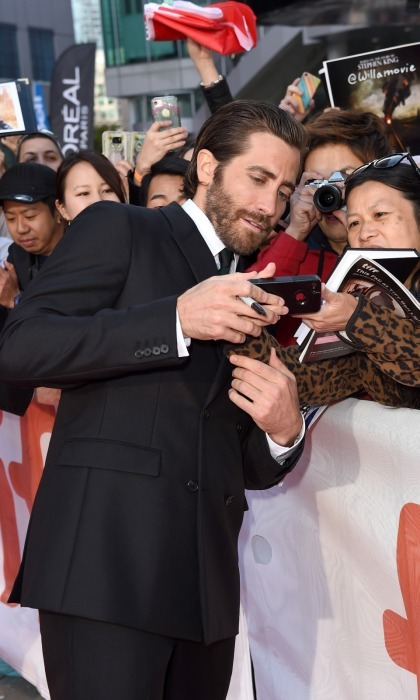 A very dapper Jake Gyllenhaal took the time to talk with his fans at the premiere of his film <i>Stronger</i> at Roy Thomson Hall on September 8.
