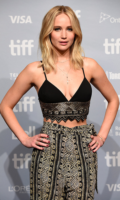 Earlier, for the film's press conference, Jennifer looked chic in a Sally LaPointe velvet and brocade bralet and trousers. 