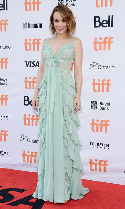 Rachel McAdams chose this ethereal pastel look by Elie Saab for the debut of <I>Disobedience</I>.